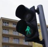 Green light. On a pedestrian crosswalk in warsaw Stock Image