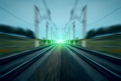 Green light on railway motion blurred abstract background Royalty Free Stock Photos