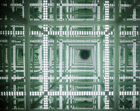 Green light reflection tunnel Royalty Free Stock Photo