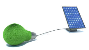 Green light and solar panel on white background Stock Images