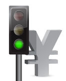 Green light on yen concept. Illustration design over white Stock Image