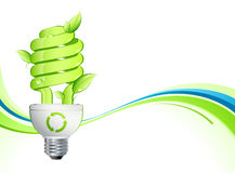 Green lightbulb. With leaves on a wavy background vector illustration