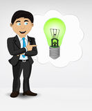 Green lightbulb in bubble idea concept of man in suit  Stock Images