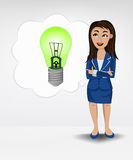 Green lightbulb in bubble idea concept of woman in suit  Stock Photos