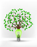 Green lightbulb in front of green leafy tree vector Stock Image