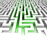 Green lighted entrance inside maze Stock Image