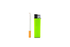 Green lighter and cigarette on white Royalty Free Stock Images