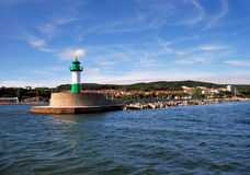 Green lighthouse. On breakwater in Sassnitz, Germany royalty free stock photography