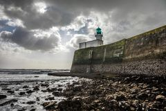 Green Lighthouse of the jetty Stock Photography