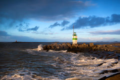Lighthouse on North sea, Ijmuiden Stock Photography