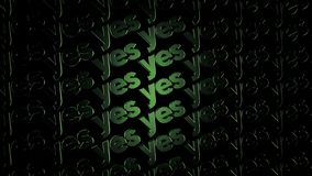Green lights form luminous text YES flowing on black background, positive decision concept. Animation. Electric style. Green lights form luminous text YES vector illustration