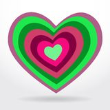 Green, lilac heart on white background Valentines Royalty Free Stock Photography