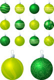 Green and Lime Baubles Royalty Free Stock Photos