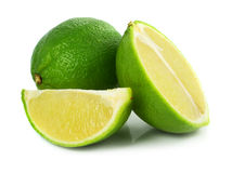 Green lime exotic fruit. Isolated on the white background royalty free stock photography