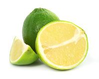 Green lime exotic fruit. Isolated on the white background royalty free stock images