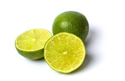 Green lime fruit isolated on white. Green lime food ingredient fruit isolated on white Royalty Free Stock Photo
