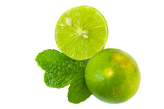 Green lime half and mint leaf on white background Stock Photos