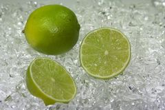 Green Lime on ice Stock Photography