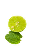 Green lime juicy and mint on white background Stock Photo