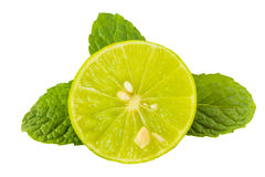 Green lime juicy and mint on white Stock Images
