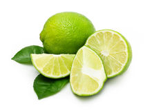 Green lime with leaf Royalty Free Stock Photography