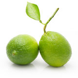 Green lime with leaf isolated Royalty Free Stock Photo