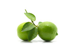 Green lime with leaf isolated on white background Royalty Free Stock Images