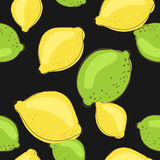 Green lime and lemon fruits on dark black Royalty Free Stock Images