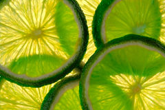 Green lime overlapped slices close-up background. Royalty Free Stock Photos