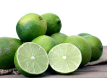Green lime. And sample display at market place royalty free stock photo