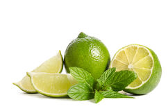 Green lime  with slice of  juicy lime Royalty Free Stock Photos