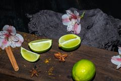 Green lime slices on a brown board, next to wild orchid flowers and dark fabric against a black background. royalty free stock photos