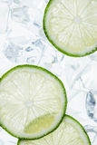 Green lime slices and ice cube Royalty Free Stock Photography