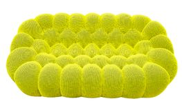 Green lime sofa with pillow. Soft lemon couch. Classic pistachio divan on isolated background.  Royalty Free Stock Photo