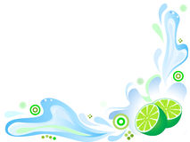 Green lime with splashing water. With abstract ornaments Royalty Free Stock Images