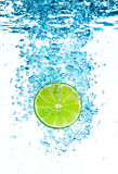 Green lime in the Water. Royalty Free Stock Photo