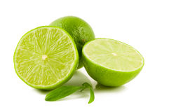 Green limes. On white background Royalty Free Stock Photography