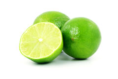 Green Limes Isolated on White Background Stock Photography
