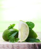 Green limes with leaves Stock Images