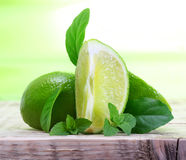 Green limes with leaves Stock Image