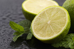 Green limes with mint and water drops Royalty Free Stock Images