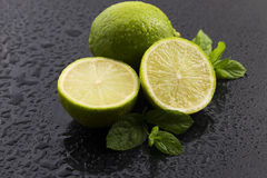 Green limes with mint and water drops Royalty Free Stock Photos