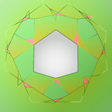 Green line art layout composition polygon frame  Royalty Free Stock Photography