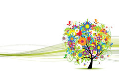 Green line banner with floral tree for your design Royalty Free Stock Photos