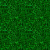 Green Line Bitcoin Seamless Pattern. Vector Illustration of Outline Tile Background. Cryptocurrency Financial Items Stock Images
