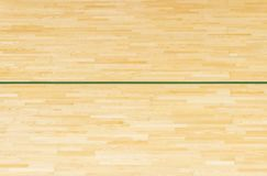 Green line on the gymnasium floor for assign sports court. Badminton, Futsal, Volleyball and Basketball court.  stock photo