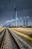 Green line. Railway to green energy Stock Photos