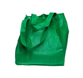 Green linen ecological shopping bag Royalty Free Stock Image