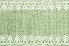 Green Linen And Lace Royalty Free Stock Photography