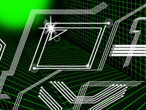 Green Lines Background Means Tech And Data Routes Royalty Free Stock Photo